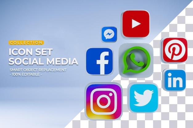 Renderização 3d de coleção de conjunto de ícones de mídia social_3