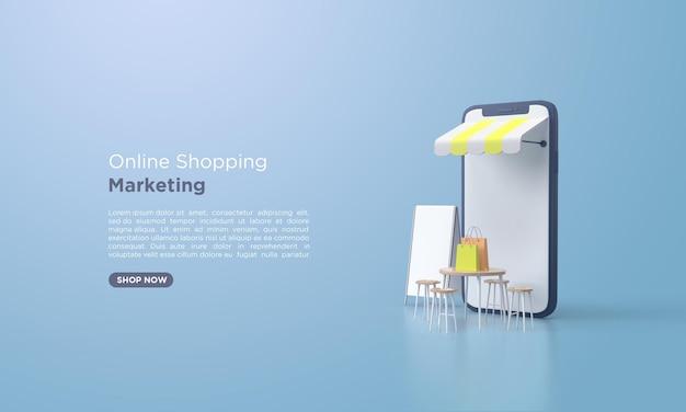 Renderização 3d de compras online com sacola de compras