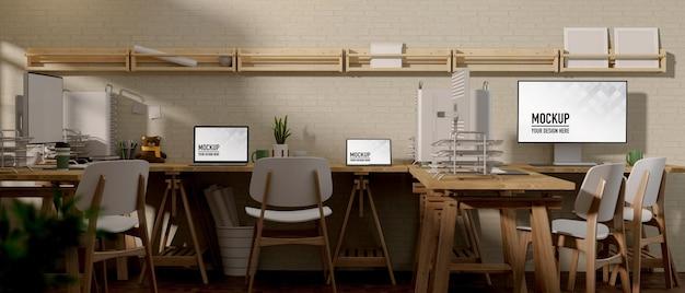 Renderização 3d de computadores de tela de maquete de sala de escritório