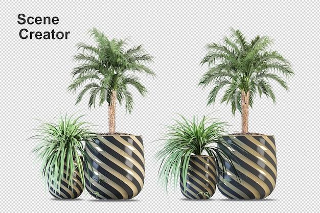Renderização 3d de coqueiros e palmeiras