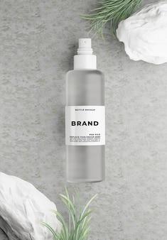 Renderização 3d de cosméticos com concreto para marca de maquete