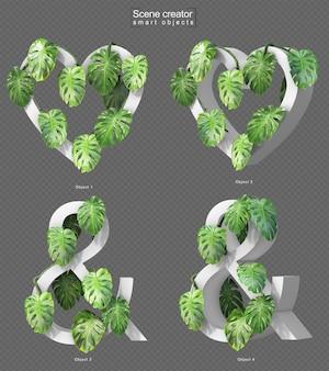Renderização 3d de creeping monstera em forma de coração e símbolo de e comercial