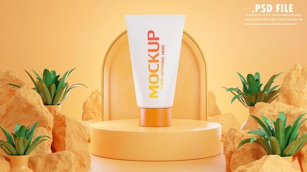 Renderização 3d de creme de proteção solar para marca de maquete