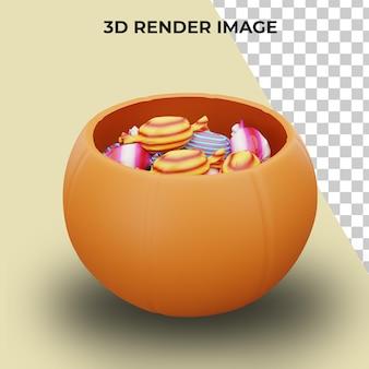 Renderização 3d de doces ou travessuras com o conceito de halloween