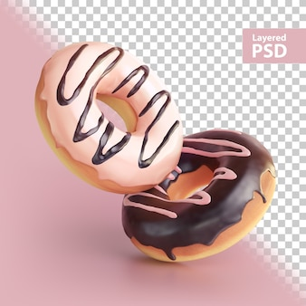 Renderização 3d de dois donuts doces