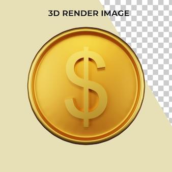 Renderização 3d de dólar psd prêmio em moeda