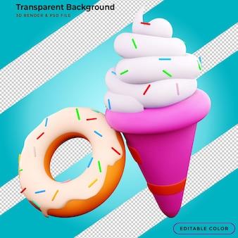 Renderização 3d de donuts e sorvete
