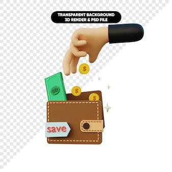 Renderização 3d de economizar dinheiro moeda e carteira com a mão