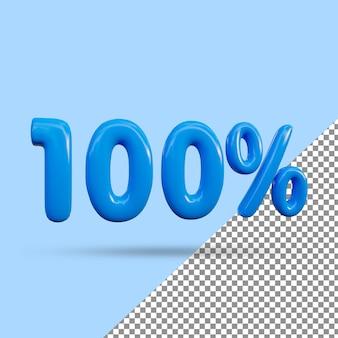 Renderização 3d de efeito de texto de 100 por cento