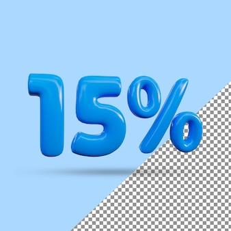 Renderização 3d de efeito de texto de 15 por cento