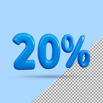 Renderização 3d de efeito de texto de 20 por cento