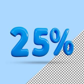 Renderização 3d de efeito de texto de 25 por cento