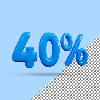 Renderização 3d de efeito de texto de 40 por cento