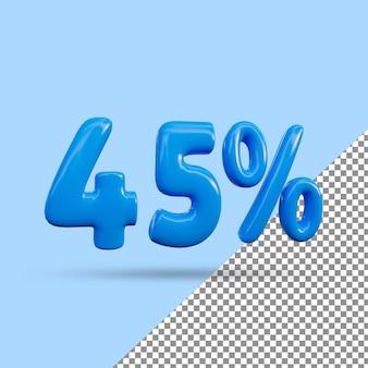 Renderização 3d de efeito de texto de 45 por cento