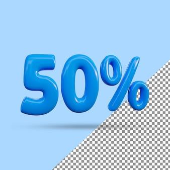Renderização 3d de efeito de texto de 50 por cento