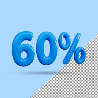 Renderização 3d de efeito de texto de 60 por cento