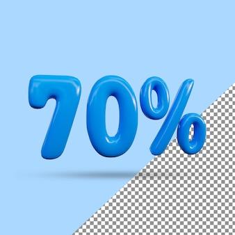 Renderização 3d de efeito de texto de 70 por cento