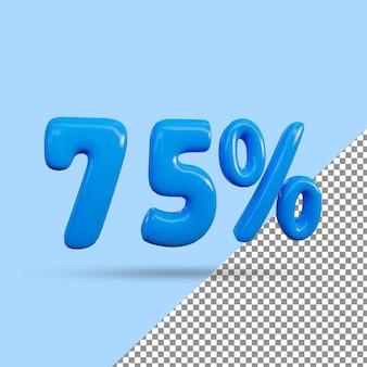 Renderização 3d de efeito de texto de 75 por cento