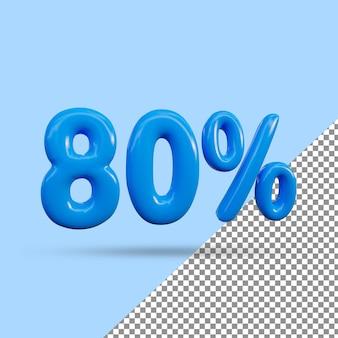 Renderização 3d de efeito de texto de 80 por cento
