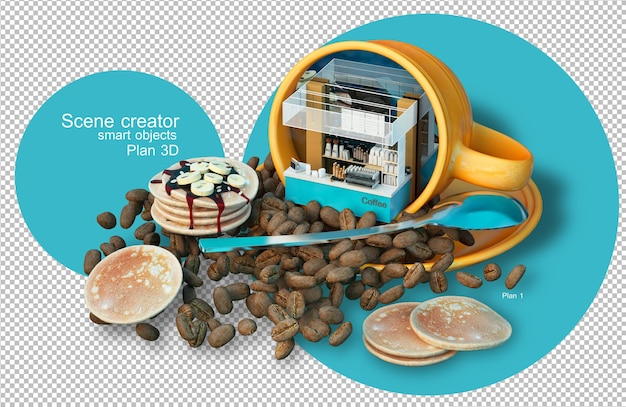 Renderização 3d de elementos de café e grãos de café