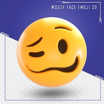 Renderização 3d de emoji de rosto isolado