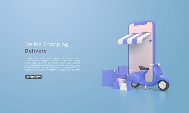 Renderização 3d de entrega de compras online com celular
