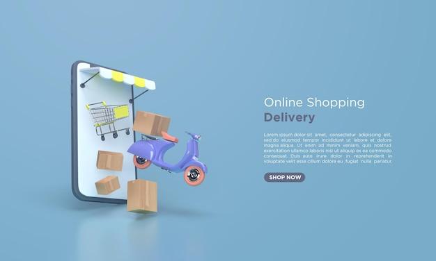 Renderização 3d de entrega de compras online com scooter