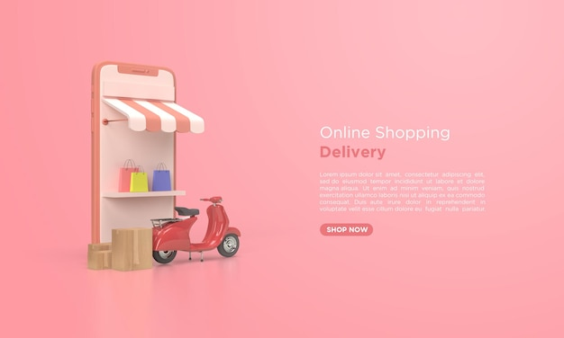 Renderização 3d de entrega de compras online