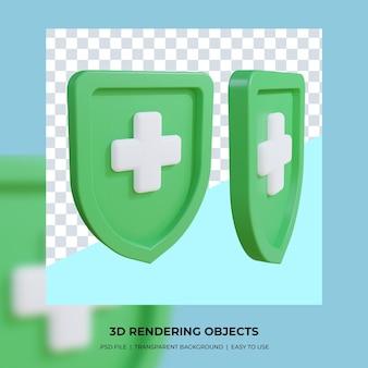 Renderização 3d de escudo de saúde isolado
