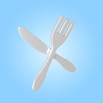 Renderização 3d de faca e garfo