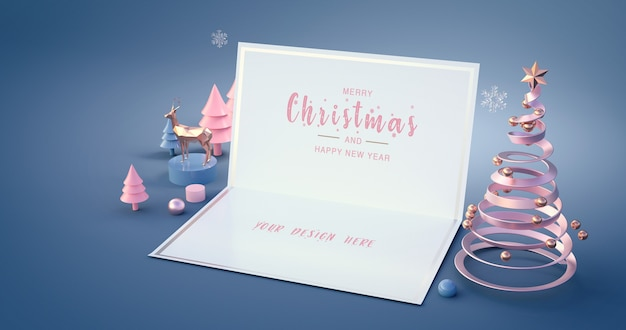 Renderização 3d de feliz ano novo e feliz natal