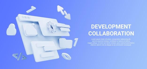 Renderização 3d de ferramentas de desenvolvimento web com seta, nuvem, pasta e cor azul