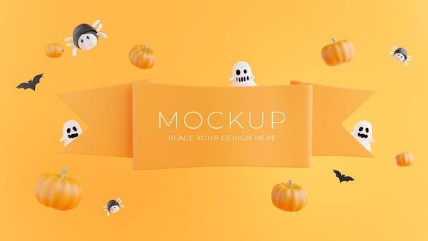Renderização 3d de fita laranja com conceito de halloween para exposição de produtos
