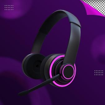 Renderização 3d de fone de ouvido para jogos