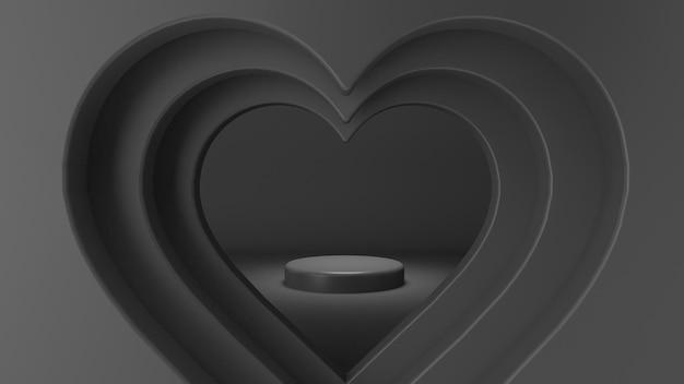 Renderização 3d de formas de coração com palco