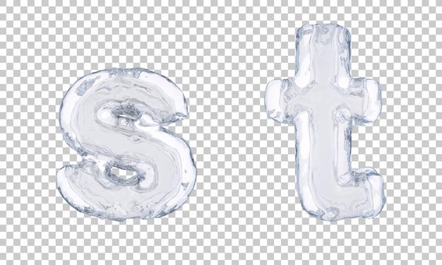 Renderização 3d de gelo alfabeto se alfabeto t