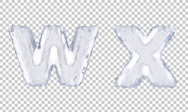 Renderização 3d de gelo alfabeto we alfabeto x