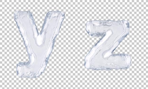 Renderização 3d de gelo alfabeto ye alfabeto z