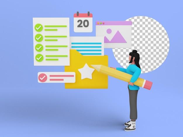 Renderização 3d de gerenciamento de documentos online