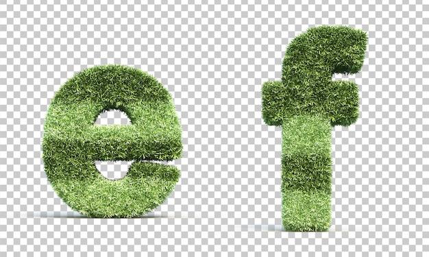 Renderização 3d de grama jogando campo alfabeto eef alfabeto f