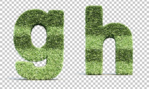 Renderização 3d de grama jogando campo alfabeto ge alfabeto h