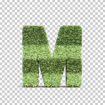 Renderização 3d de grama jogando campo alfabeto m