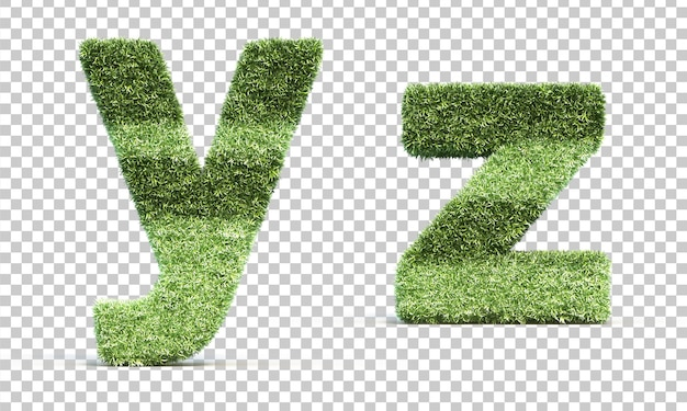 Renderização 3d de grama jogando campo alfabeto ye alfabeto z