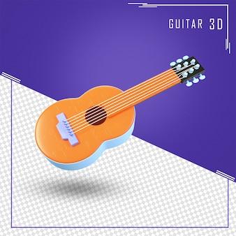 Renderização 3d de guitarra com um tom laranja