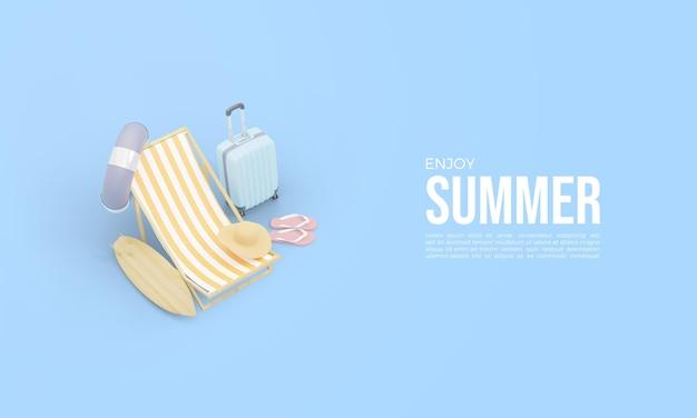 Renderização 3d de horário de verão com cadeiras de praia e mala