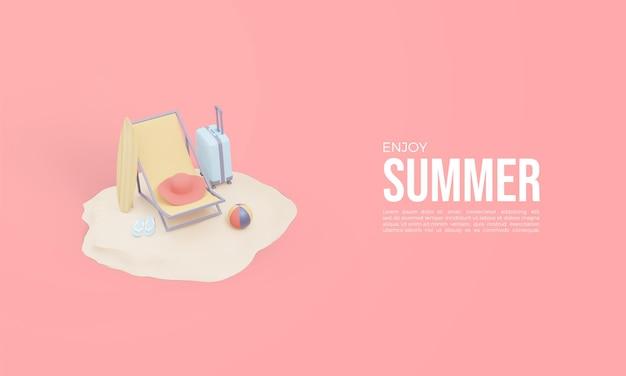 Renderização 3d de horário de verão com cadeiras de praia na areia
