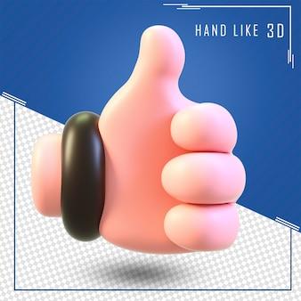 Renderização 3d de humano como mão em sinal isolado