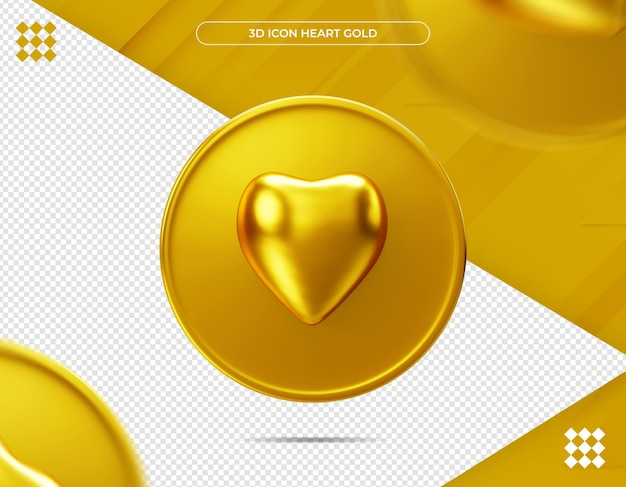 Renderização 3d de ícone coração ouro Psd Premium