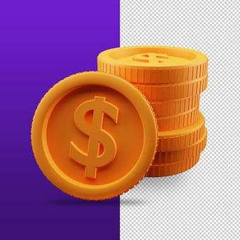 Renderização 3d de ícone de pilha de moedas