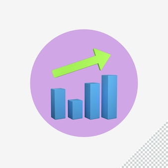 Renderização 3d de ícones do gráfico de barras